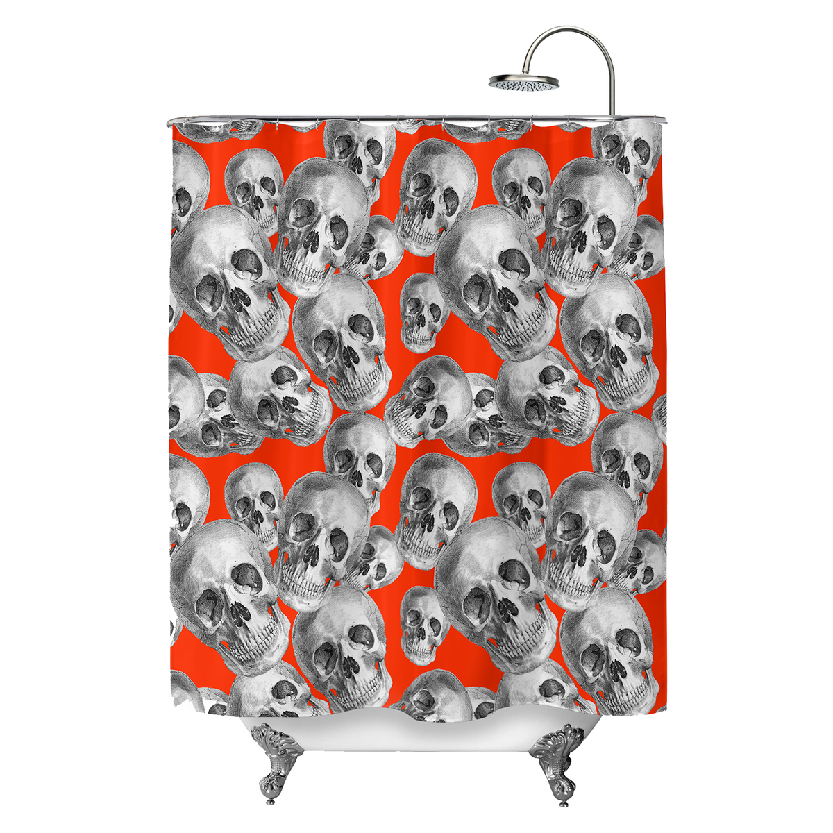 Skulls On Red Shower Curtain ChillCave