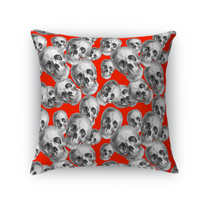 Skulls On Red Throw Pillow