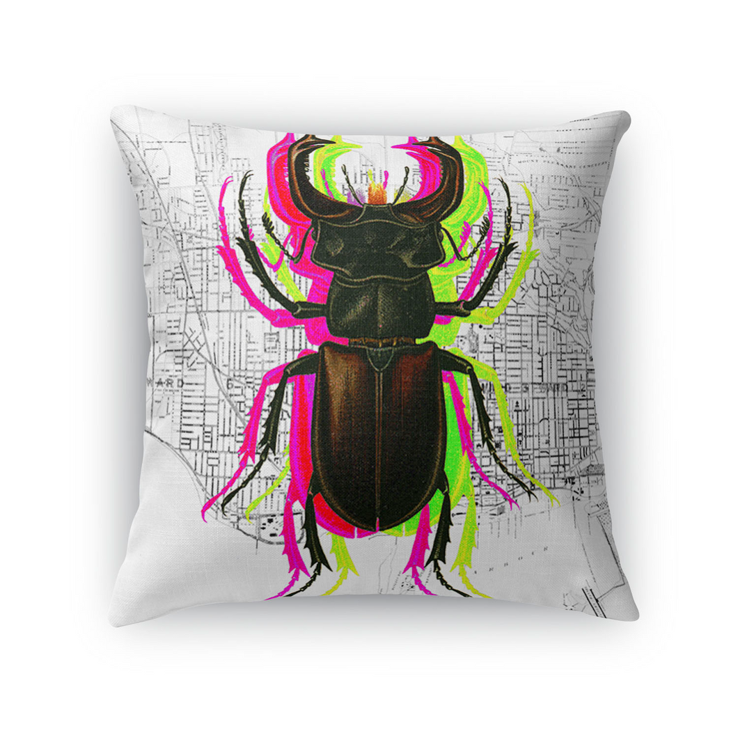 Trippy Bug Throw Pillow