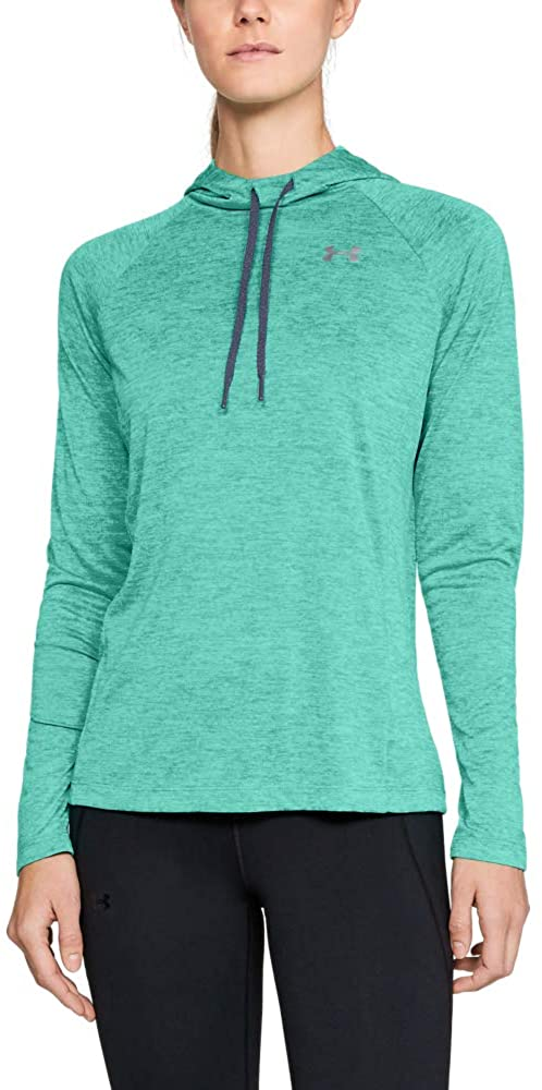 Under Armour Women's Tech Twist Hoodie, Green Malachite (349)/Metallic Silver, X-Large