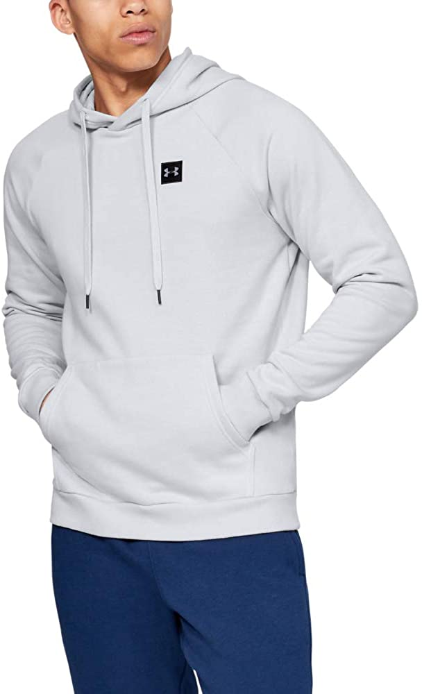 Under Armour Men's Rival Fleece Hoodie, Halo Gray (014)/Black, Medium