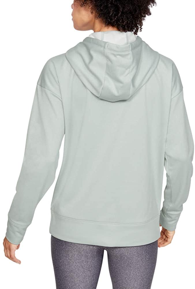 Under Armour Women's Synthetic Fleece Chenille Logo Pullover Hoodie, Atlas Green Light Heather//Onyx White, Small