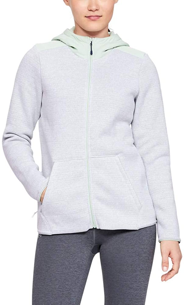 Under Armour Women's Wintersweet Hoodie 2.0, Atlas Green Fade Heather//Onyx White, Medium
