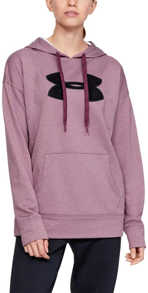 Under Armour Women's Synthetic Fleece Chenille Logo Pullover Hoodie, Level Purple Light Heather//Black, Small