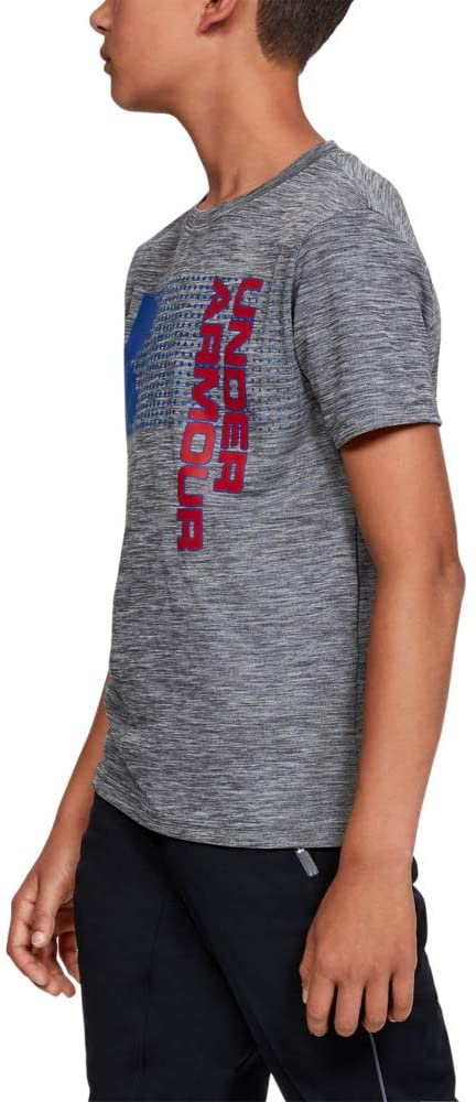 Under Armour Boys' Crossfade T-Shirt, Graphite (042)/Red, Youth Small