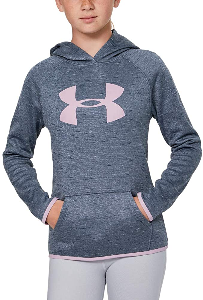 Under Armour Girls' Armour Fleece Big Logo Twist Hoody, Downpour Gray Light Heather (044)/Pink Fog, Youth X-Large