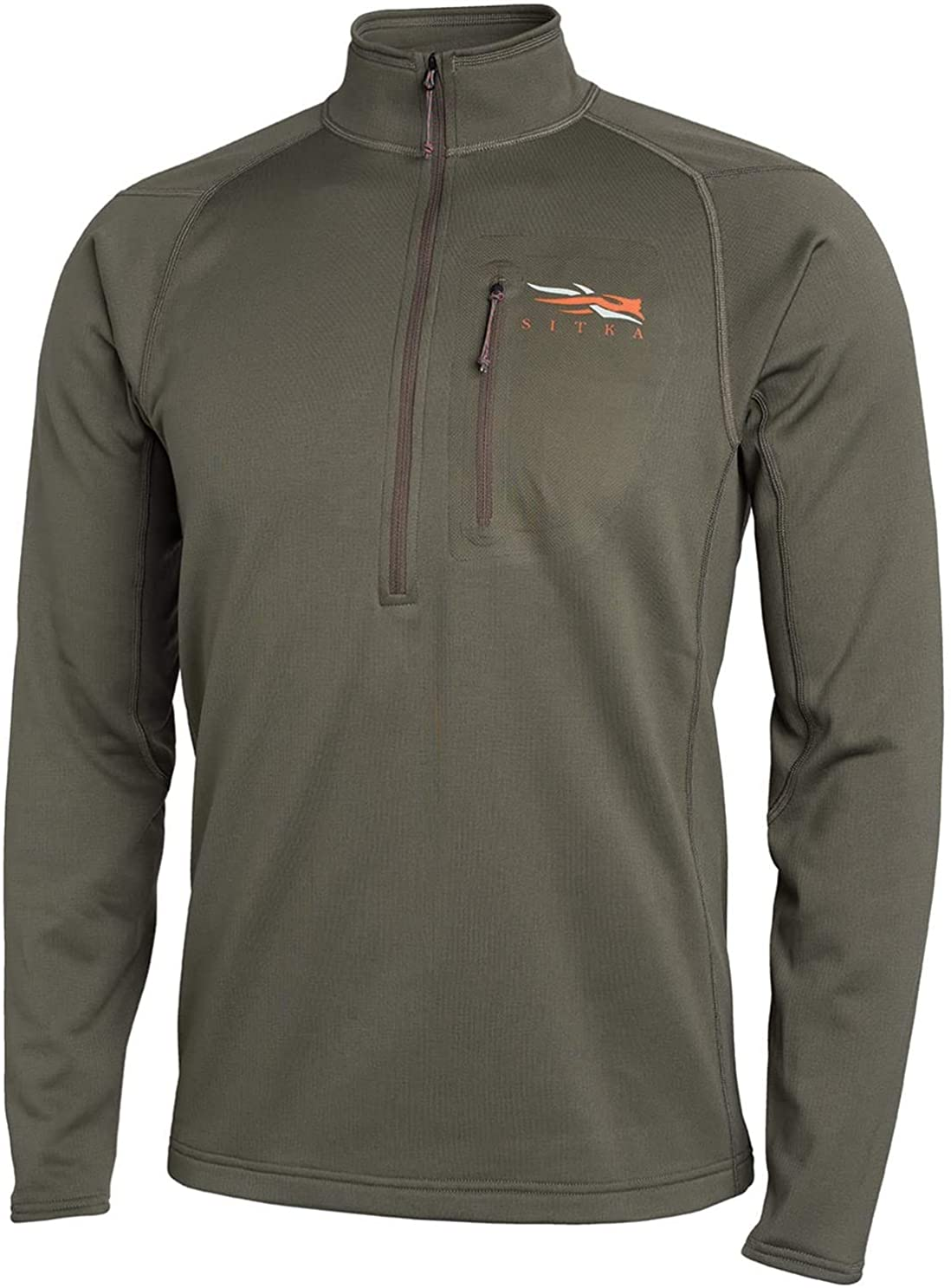 SITKA Gear Men's Core Midweight Zip-T Quick-Dry Odor-Free Long Sleeve Hunting Shirt, Pyrite, Medium Tall