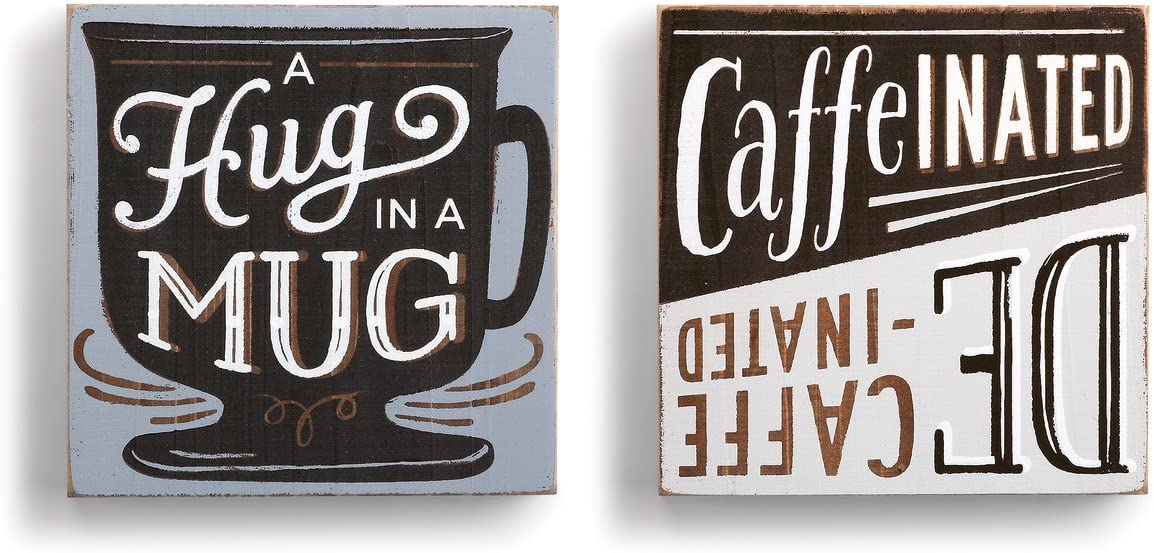 DEMDACO Hug in a Mug 6 x 6 Fir Wood Plank Painted Wall Art Plaque Set of 2