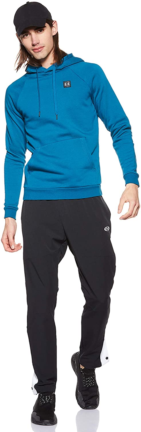 Under Armour Men's Rival Fleece Hoodie, Teal Vibe (417)/Black, Medium