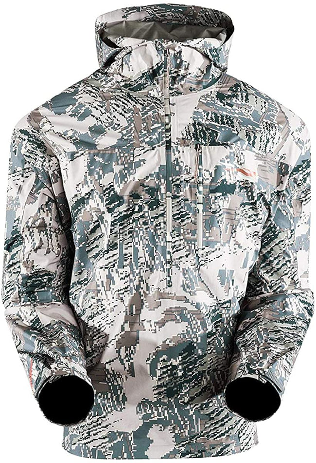 SITKA Gear Men's Hunting Lightweight Windproof Hooded Camo Flash Pullover with Zippered Chest Pocket