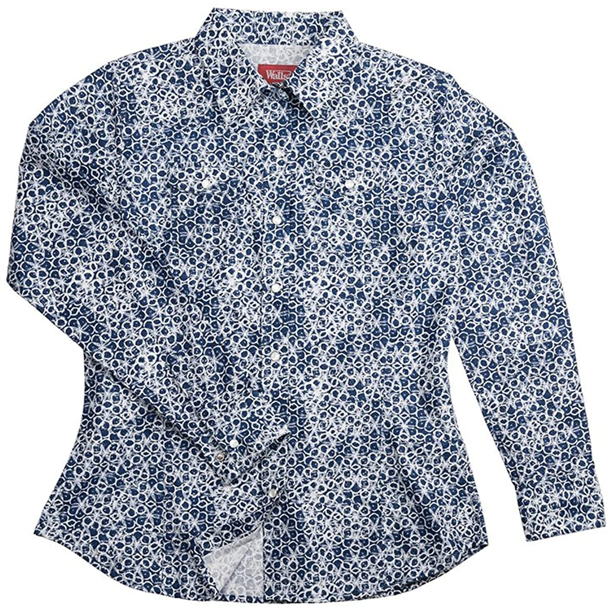 Walls - Womens ZLF018 Wild Blue Floral L/S Snap Shirt, Size: 2X-Large, Color: Print