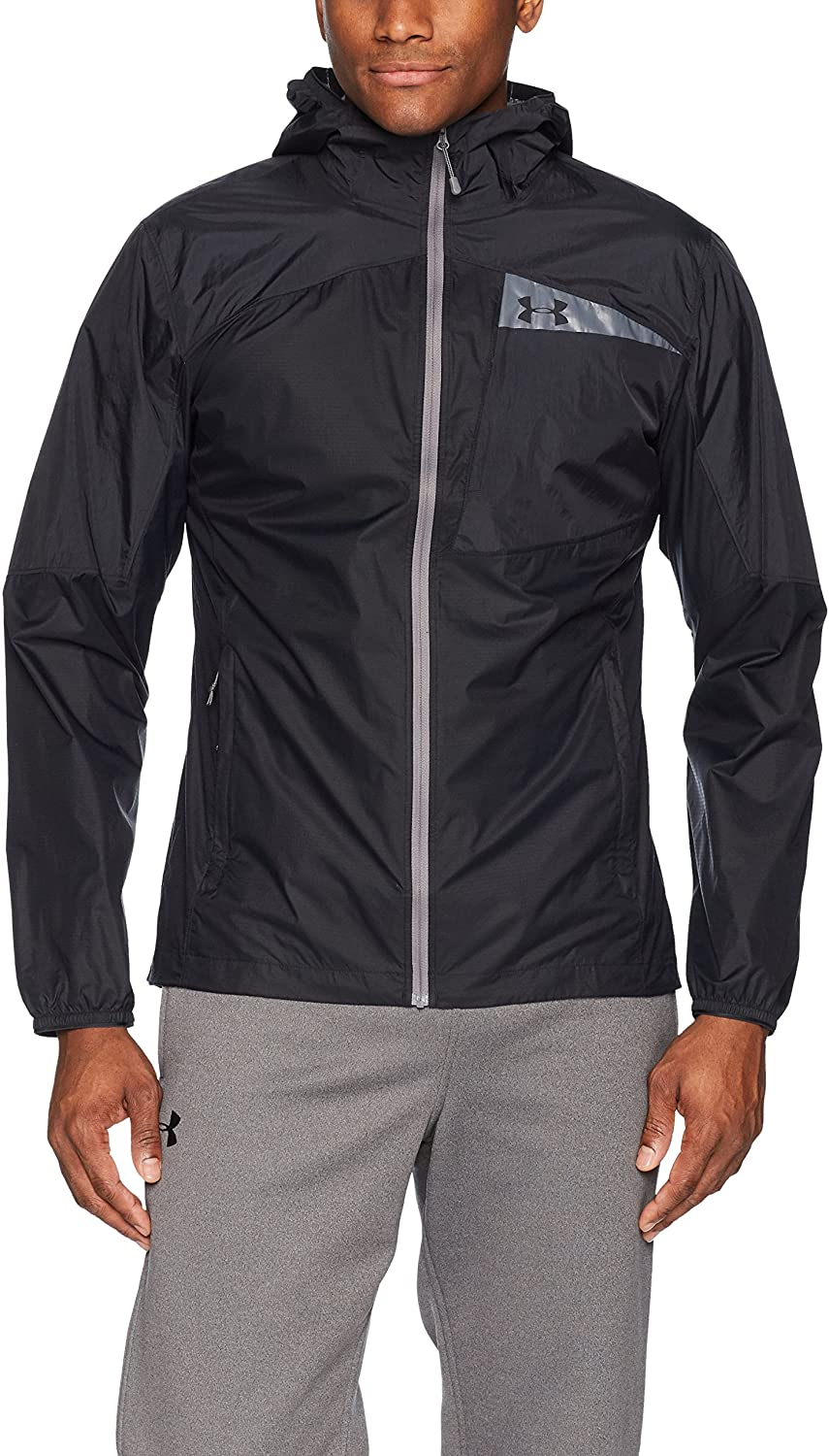 Under Armour Outerwear Men's UA Scrambler Hybrid Jacket, Black (001)/Graphite, X-Large