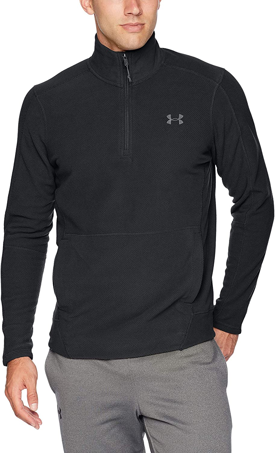 Under Armour Men's Zephyr Fleece Solid 1/4 Zip Sweat Shirt, Black (001)/Graphite, Medium