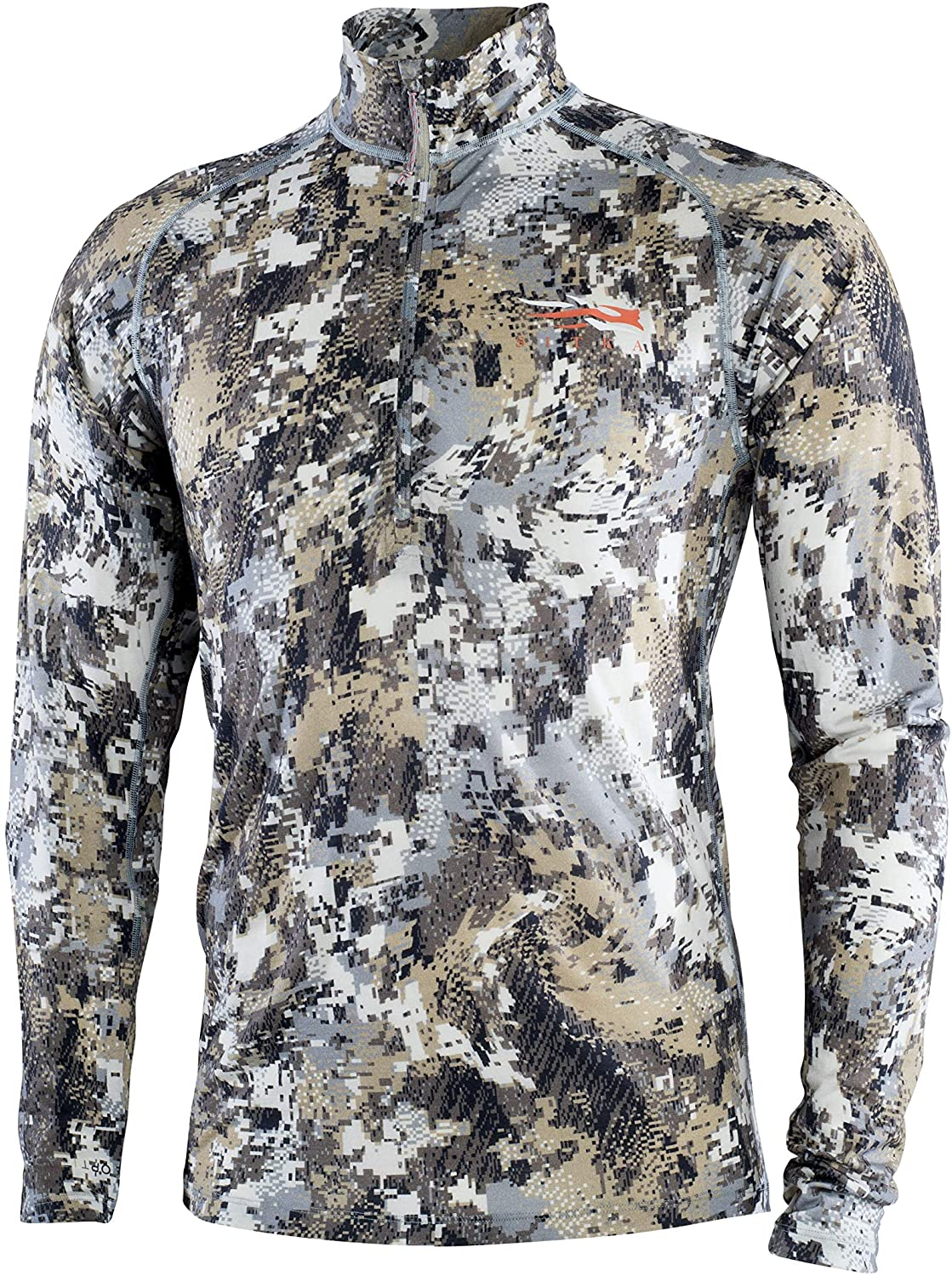 SITKA Gear Men's Merino Core Lightweight Half-Zip Odor-Free Camo Long Sleeve Hunting Shirt, Optifade Elevated II, XXX-Large