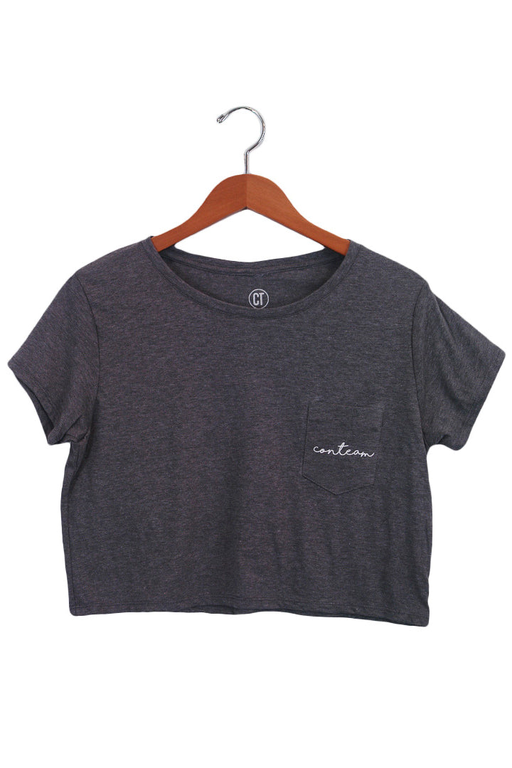 Cropped Pocket Tee in Dark Heather