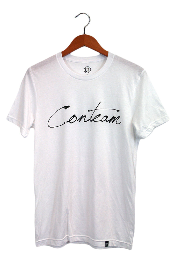 Conteam Script Tee in White
