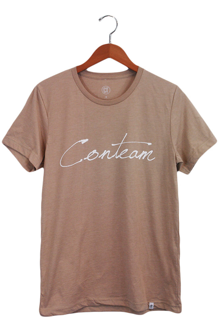 Conteam Script Tee in Heather Tan