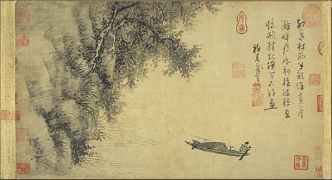 Chinese painting with multiple chop and seal marks