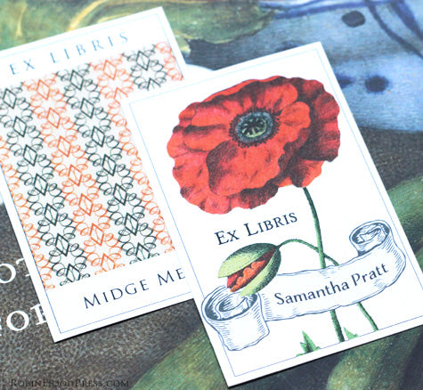 personalized bookplates with pattern and flowers