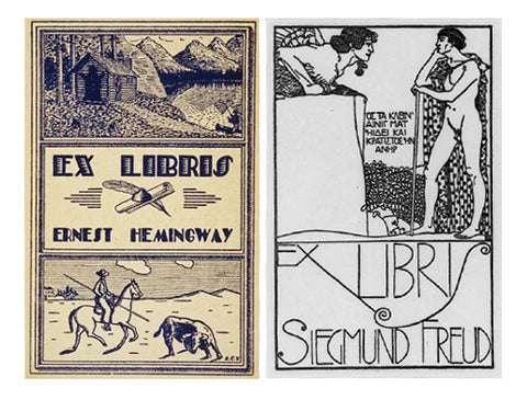 Bookplates of Sigmund Freud and Hemmingway - History of the Bookplate