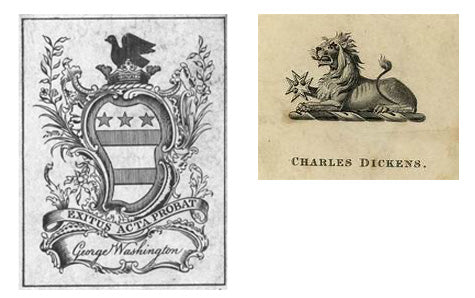 Famous bookplates, George Washington and Charles Dickens