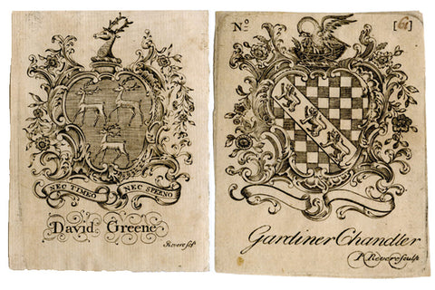 Paul Revere Bookplates showing two Chippendale Frames