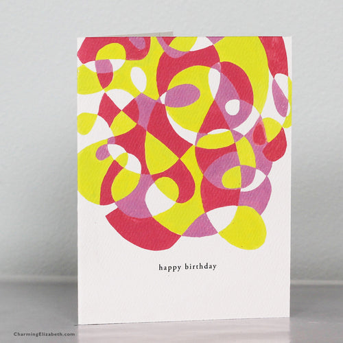 Pink and Yellow Abstract Birthday Card
