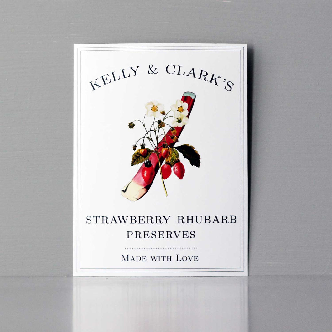 Strawberry Rhubarb Jam Labels, Strawberry Rhubarb Preserves Label