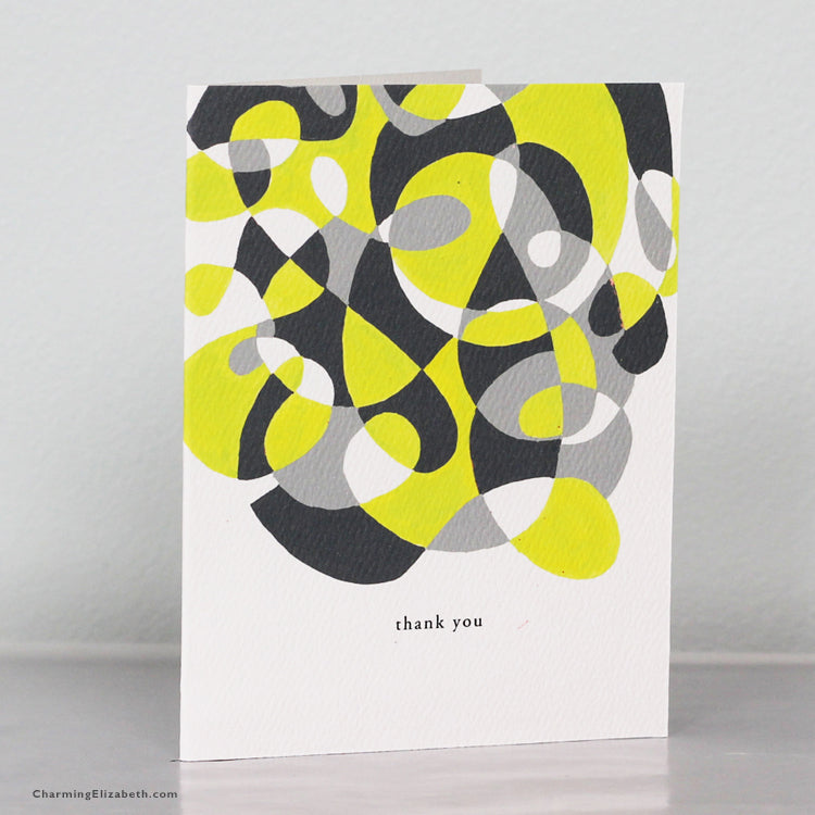 Yellow and Gray Abstract Thank You Card