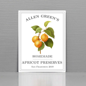 Personalized Apricot Jam Labels, Apricot Canning Labels