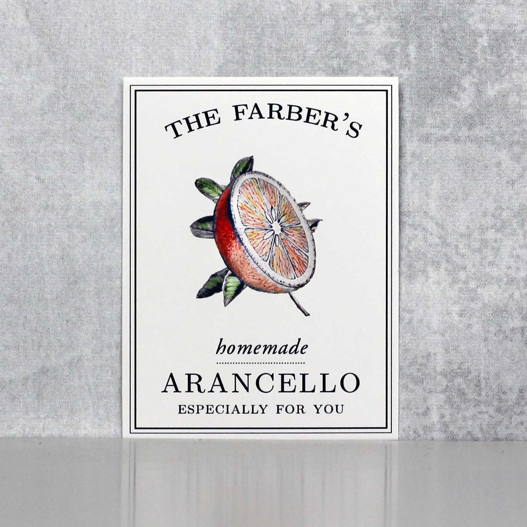 Personalized Orangecello Labels, Arancello Labels or Tags