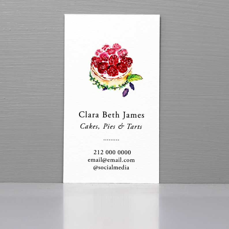 Business Card with Tart, Bakery Business Card,Small Business Baker