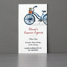 Business Card with Blue Bike and Dog Basket