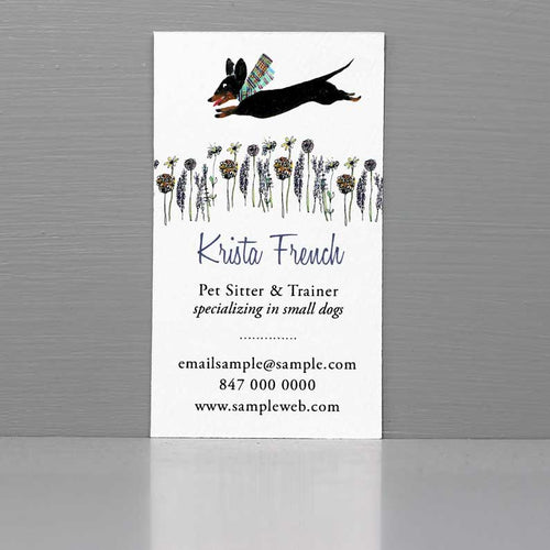 Leaping Black and Tan Dachshund Pet Sitter Business Card