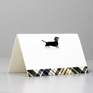 Black and Tan Dachshund Place Cards with Plaid