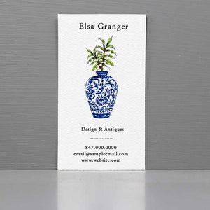 Blue and White Ginger Jar Business Card with Greenery