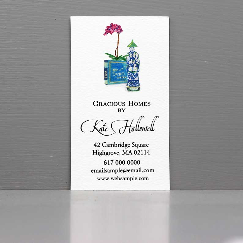 Blue and White Business Card with Orchid for Interior Designer, Vintage Seller