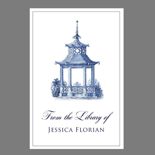Blue and White Pagoda Bookplates
