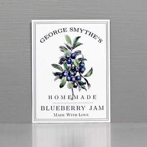 Personalized Blueberry Jam Labels, Blueberry Canning Labels