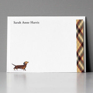 Brown Dachshund Plaid Flat Note Set