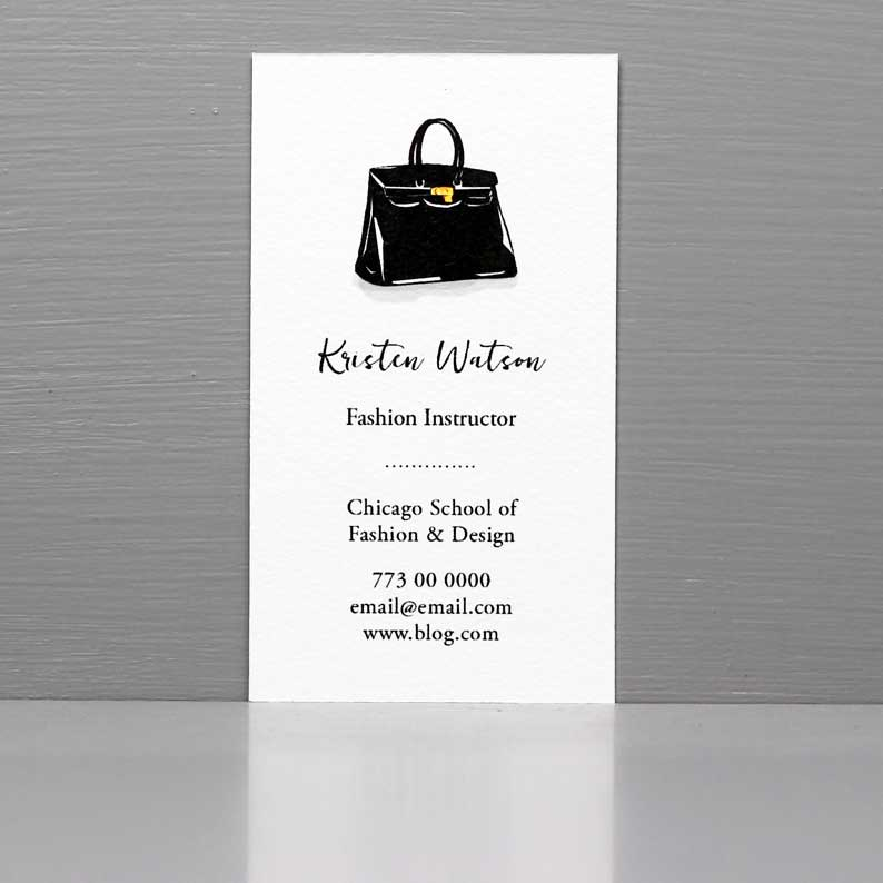 Business Card with Black Designer Purse, Vintage Fashion.