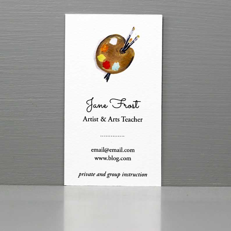Business Card with Paint Palette, Art Teacher Business Card