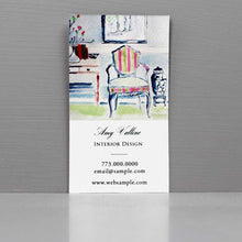 Business Card for Interior Designer, Interior scene with French Chair