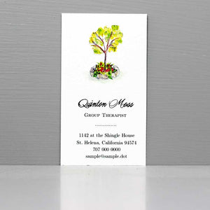 Business Card with Watercolor Tree, Therapist Business Card