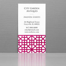 Business Card with Pink Trellis Pattern, Chinoiserie Fret Pattern