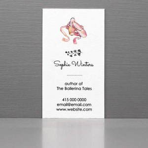 Business Card with Ballet Slippers, Pink Ballet Slippers
