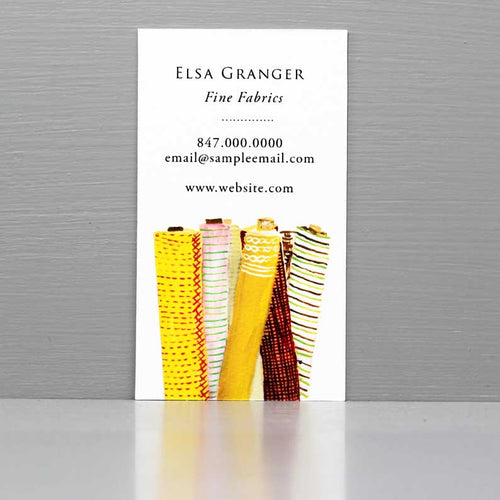 Business Card for Interior Designer with Fabric Rolls, Textile, Upholstery