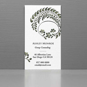 Vintage Woodland Woodcut Motif Business Card, Floral Calling Card