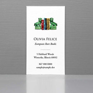 Foo Dogs Business Card, Chinoiserie Business Card, Green Foo Dogs