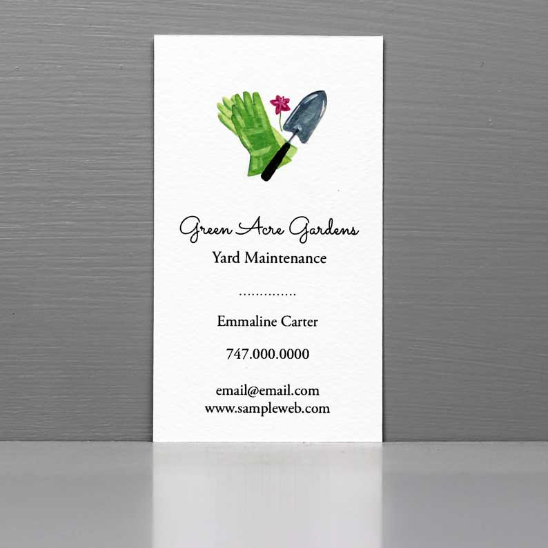 Business Card with Garden Spade and Garden Gloves.